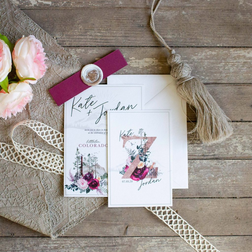 Invitation Design with Colorado Mountains