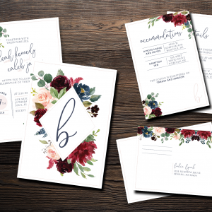 Moody Florals Invitation Suite