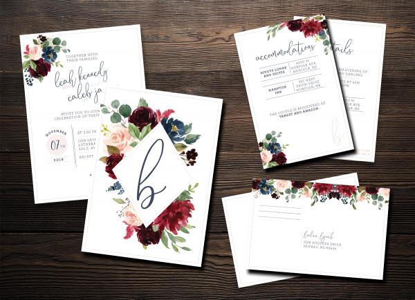 Burgundy, Navy, Blush Floral Invites