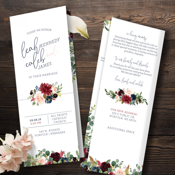 Folded Catholic Program with Navy, burgundy and blush florals