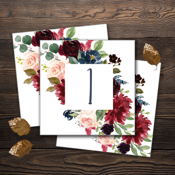 Table Numbers with Navy, burgundy and blush florals