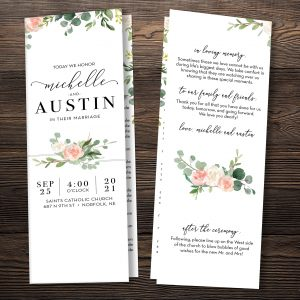 Eucalyptus Blush Folded Programs (Catholic Compatible)