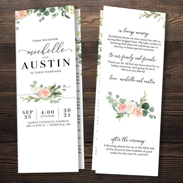 Eucalyptus Blush Wedding Bi-Fold Folded Catholic Program