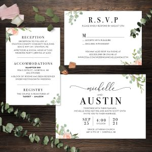 Eucalyptus Blush Invitation Suite