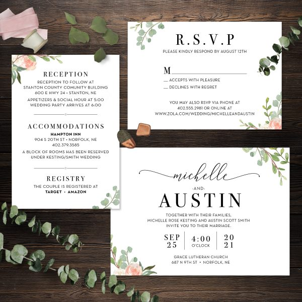 Eucalyptus greenery and Blush florals 3 piece wedding invitation suite