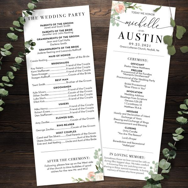 Eucalyptus Blush Wedding Vertical Program 4inches by 11 inches