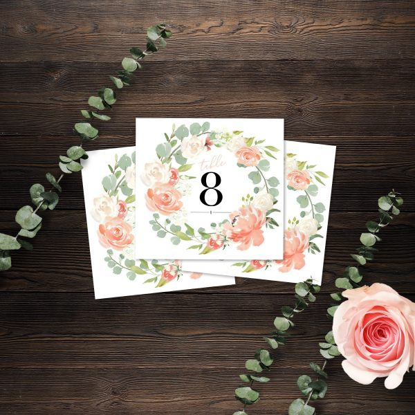 Eucalyptus Blush Wedding Table Numbers