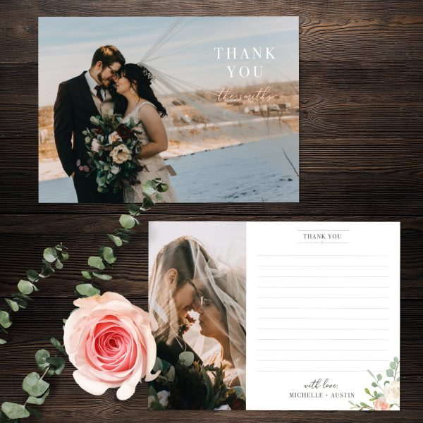 Eucalyptus Blush Wedding Thank You Card