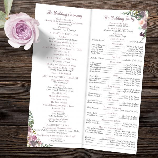 Mauve and Blush Wedding Folded Bi-fold Program Catholic