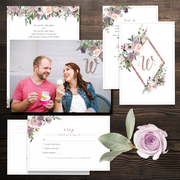 3 piece Mauve and Blush Wedding Invitation Suite