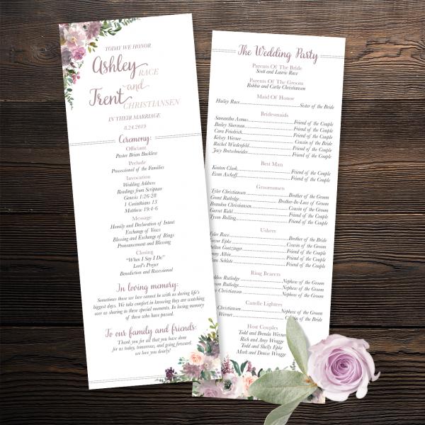 Mauve and Blush Wedding Program