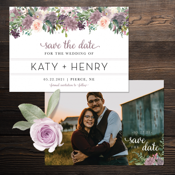 Mauve and Blush Wedding Save the Date front and back images