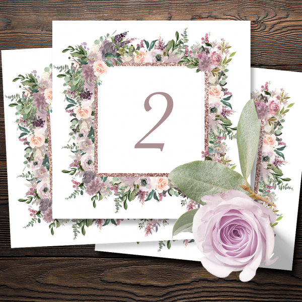 Mauve and Blush Wedding Table Numbers