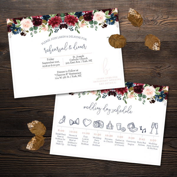 Two wedding Rehearsal Invites with Navy burgundy and mauve florals