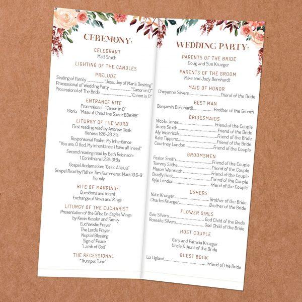 Tan Blush Taupe Brown Rust Terra Cotta bi-fold open catholic Wedding program