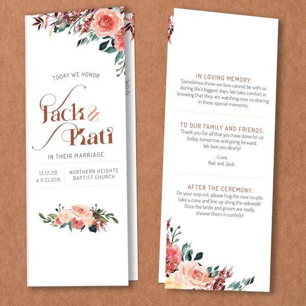 Tan Blush Taupe Brown Rust Terra Cotta bi-fold folded catholic Wedding program