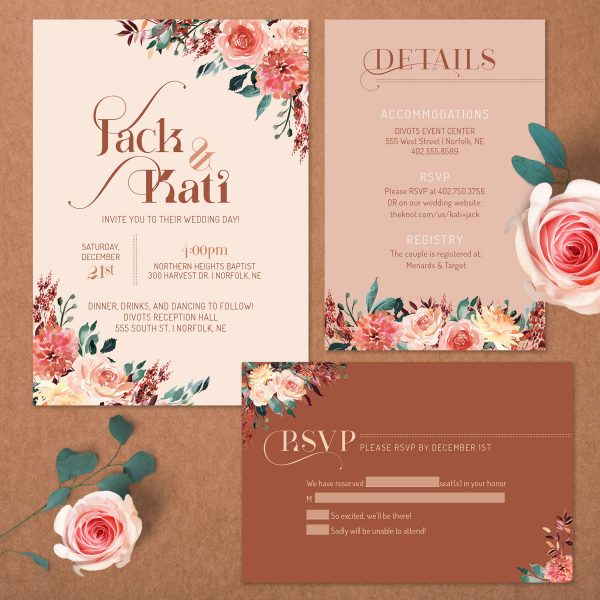 Tan Blush Taupe Brown Rust Terra Cotta Wedding Invite Suite
