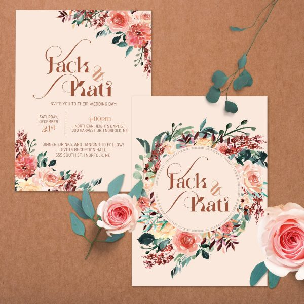 Tan Blush Taupe Brown Rust Terra Cotta Wedding 5x7 Invite