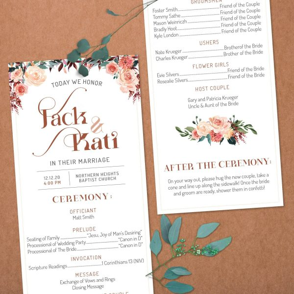 Closeup of Tan Blush Taupe Brown Rust Terra Cotta Wedding program