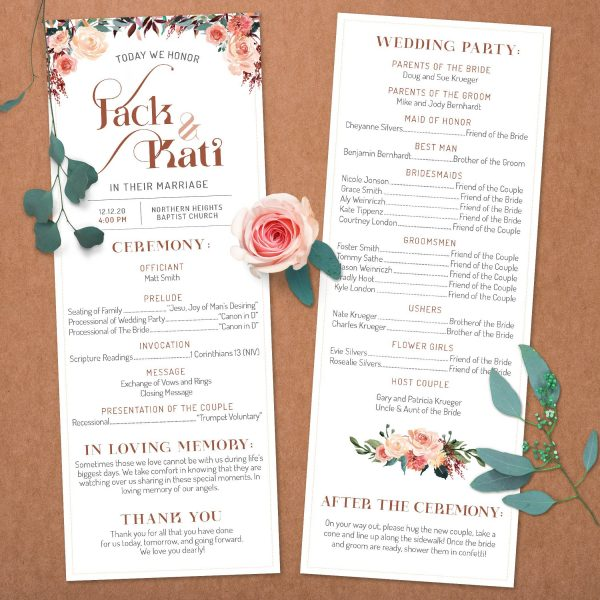 Tan Blush Taupe Brown Rust Terra Cotta Wedding program