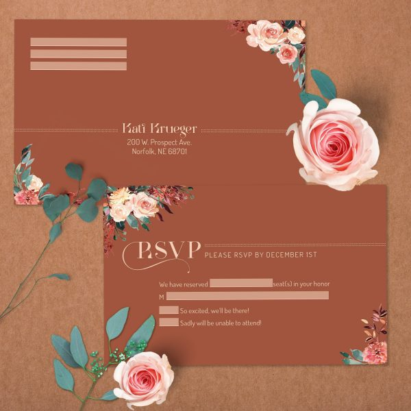 Tan Blush Taupe Brown Rust Terra Cotta Wedding RSVP