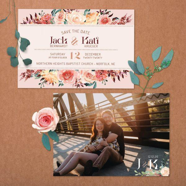 Tan Blush Taupe Brown Rust Terra Cotta Wedding Save the Date