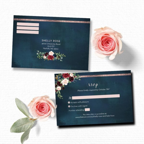 Navy, blush and burgundy Wedding RSVP