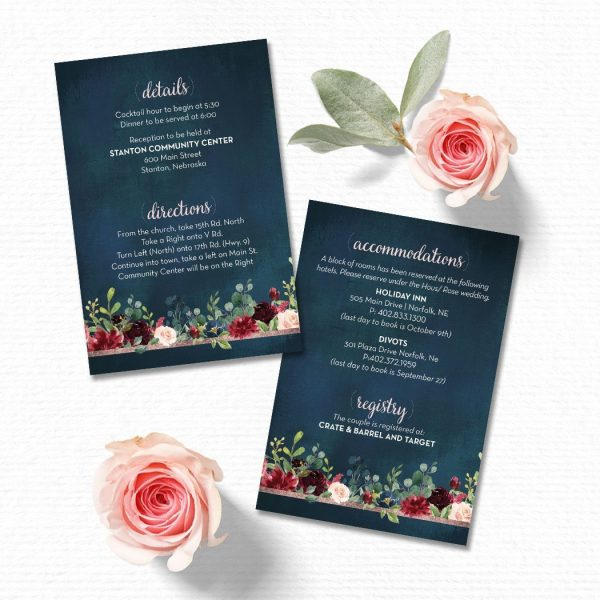 Navy, blush and burgundy Semi-Custom 4x6 Details Card
