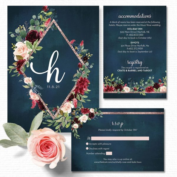 Navy, blush and burgundy Wedding Invitation Suite