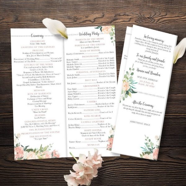 Oh Blush Collection Bi-Fold Catholic Wedding Ceremony Program with Peach and Blush Florals