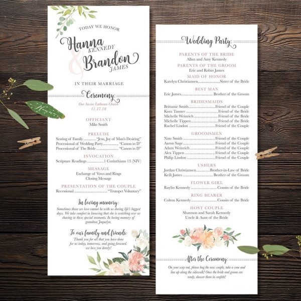Oh Blush Wedding Ceremony Program with Peach and Blush Florals
