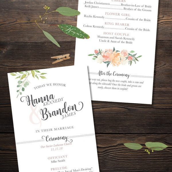 Closeup of Oh Blush Wedding Ceremony Program with Peach and Blush Florals