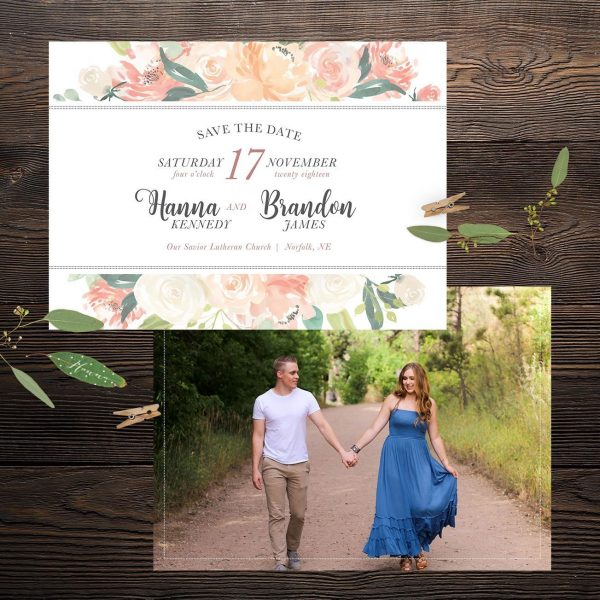 Oh Blush Collection 5x7 Wedding Save the Date Front and Back