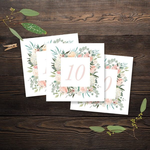 Oh Blush Table Numbers card with Peach and Blush Florals