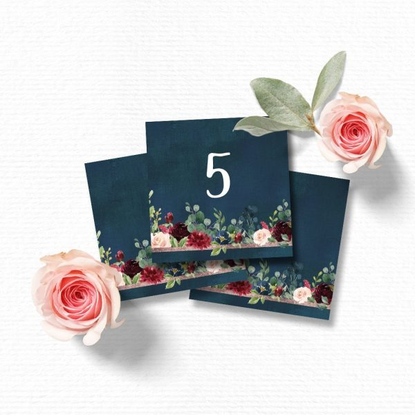 Navy, blush and burgundy Table Numbers