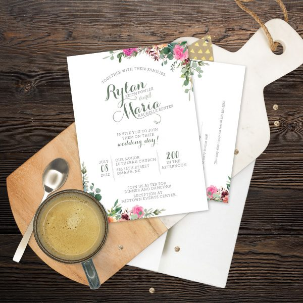 Invitation Set with Magenta, fall colors and sage florals