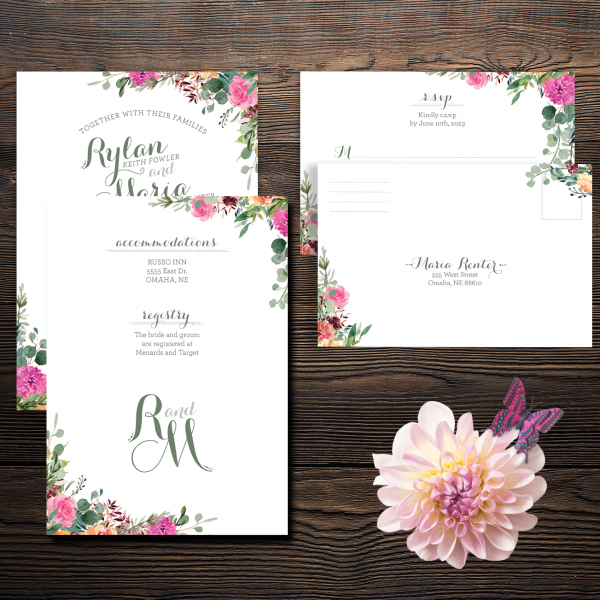 These magenta, peach and apricot floral invitation suite make the perfect 2-piece invite set.