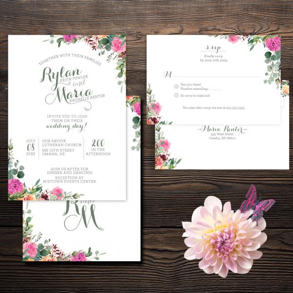 Magenta peach apricot floral invitation suite invites
