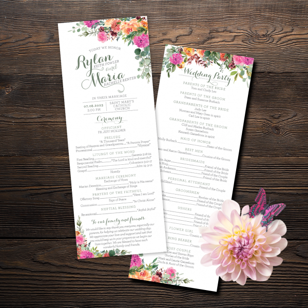 These magenta, peach and apricot floral programs are perfect for your ceremony!