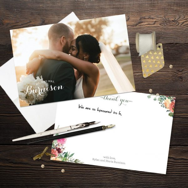 Magenta Fall Thank You Cards with Free envelope
