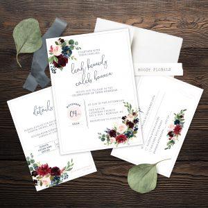 Moody Florals Invitation Suite