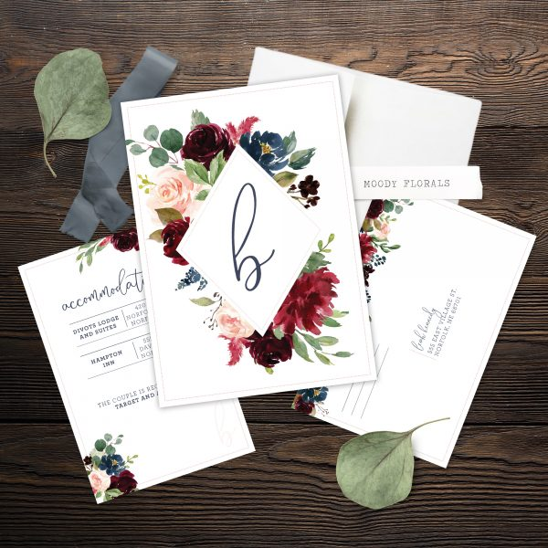 Wedding Invitations with Navy Burgundy Maroon and blush pink florals