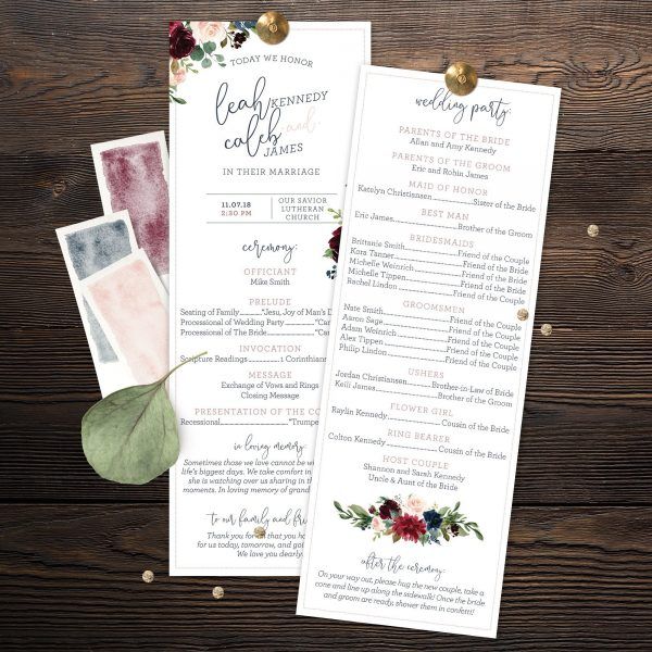 Wedding Programs with Navy, Burgundy, Maroon and Blush Pink florals