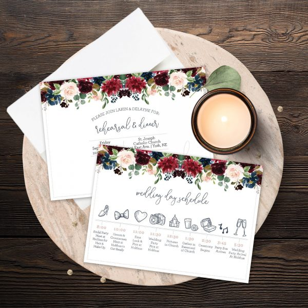 Wedding Rehearsal Invite with Navy, Burgundy, Maroon and Blush Pink florals
