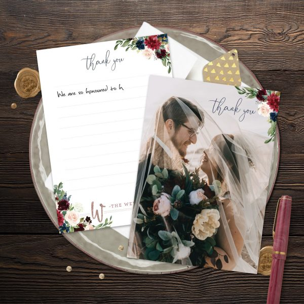 Thank You cards with Navy, Burgundy, Maroon and Blush Pink florals