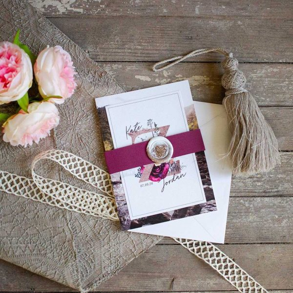 Colorado Mountain themed wedding invitation suite with coordinating rsvp and details card